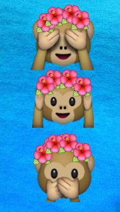 Emoji cute tumblr flower crown monkey see/hear/speak no evil wallpapers