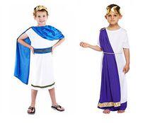Boys Roman Emperor Julius Caesar Greek Toga King Kids Fancy Dress Outfit Costume