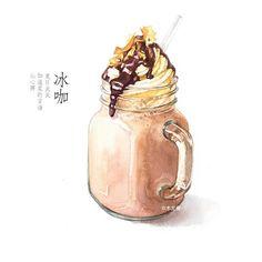 【用手绘记录夏天】浓浓的巧克力冰咖-木龙蕾_手绘,插画,水彩,夏天_涂鸦王国插画