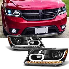 2009 2010 2011 2012 2013 2014 Dodge Journey Replacement Light Tube Black Projector Headlights Lamps -- Awesome products selected by Anna Churchill Dodge Suv, Dodge Nitro, Rims For Cars, All Cars, 2014 Dodge Journey, Black Headlights, Headlight Assembly, Led Tubes, Projector Headlights