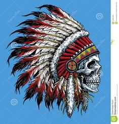 Sugar Skull With Indian Headdress Tattoo Sugar skull headdress