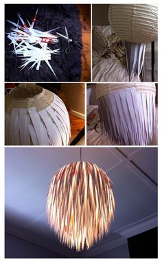 Such a simple idea. Cut strips from scrap paper and glue them onto the shade (use an old rice lantern). Looks expensive but it is not!!! Great to reuse old scrap paper and old paper lanterns.