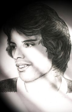 Freddie Mercury (Queen) pencil drawing (portrait) by Gabriella Tóth