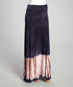 This Blue & Pink Tie-Dye Maxi Skirt is perfect! #zulilyfinds