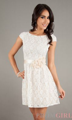 Lace Dresses with Sleeves, Short Homecoming Dresses- PromGirl
