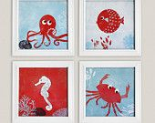 Under the sea themed paintings I will paint myself for my someday kid's room