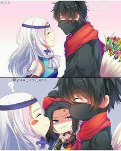 There so cute together 😍 Don't mind hanabi 😂 Mobiles, Anime Chibi, Kawaii Anime, Anime Art, Miya Mobile Legends, Alucard Mobile Legends, Moba Legends, Legend Games, The Legend Of Heroes