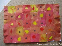 Tapis marocain chez les MS: encres dans quadrillage puis collage de gommettes