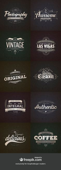 Here's a free premium quality collection of 10 retro vintage badges. You may use these badges to create labels for products, awesome t-shirts designs, or - posted under by Fribly Editorial Retro Vintage, Style Vintage, Vintage Labels, Vintage Designs, Logo Vintage, Vintage Typography, Typography Logo, Typography Design, Design Retro