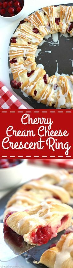 Cherry Cream Cheese Crescent Ring - Super simple, uses store bought crescent rolls. Tastes amazing. If you are feeding a crowd breakfast or even dessert, this danish ring is going to be perfect.