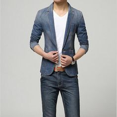 Fair price New Hot 2017 Spring Fashion Brand Men Blazer Men Trend Jeans Suits Casual Suit Jean Jacket Men Slim Fit Denim Cotton Jackets  just only $37.94 with free shipping worldwide  #jacketscoatsformen Plese click on picture to see our special price for you