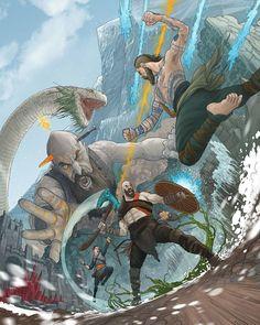 God of War fan art continues to defy our expectations ・・・ В цвете God Of War Series, Arte Ninja, Kratos God Of War, Fan Art, Video Game Art, Image Hd, Hero Arts, Geeks, Character Art