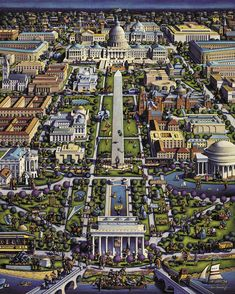 Dowdle's Washington D. jigsaw puzzle features the folk art stylings of Eric Dowdle. Idaho, National Mall, Historical Architecture, Architecture Sketches, Naive Art, Puzzle Art, City Art, Art Pages, Travel Around The World