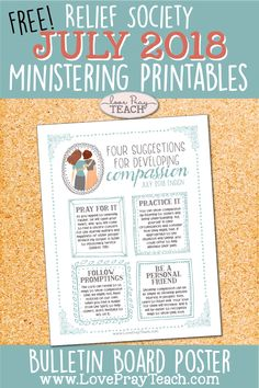 """Free Ministering printables including a bulletin board poster on compassion and a """"getting to know you"""" printable card! Visiting Teaching Handouts, Teaching Time, Teaching Ideas, Relief Society Lessons, Relief Society Activities, Sabbath Lesson, Friends Bulletin Board, Ministering Lds, Primary Lessons"""