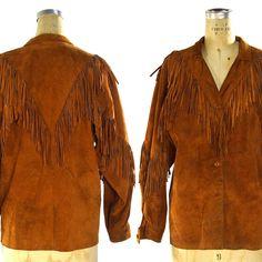 70s Suede Fringe Shirt / Vintage 1970s Fringed Leather Button Up Lightweight Jacket / Hippie Boho Bohemian Western Cowboy / Unisex S M L by SpunkVintage