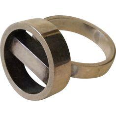 Georg Jensen Denmark Modernist Sterling Silver Ring #122, c. 1970