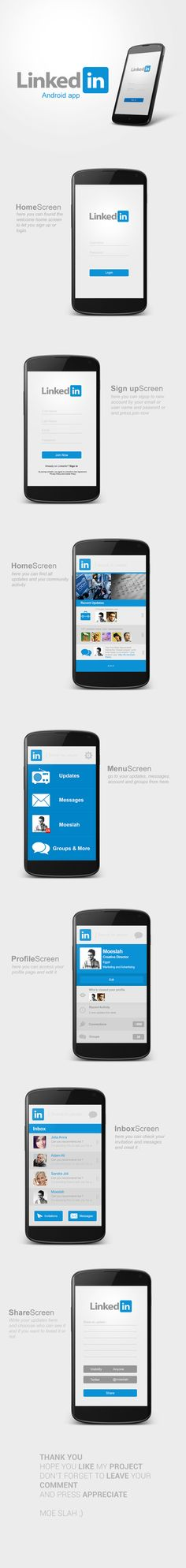LinkedIn Android App Re-design by Moe slah, via Behance