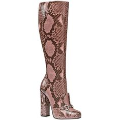 New Gucci Python Horsebit Knee High Boots Pink ($2,495) ❤ liked on Polyvore featuring shoes, boots, snakeskin boots, chunky heel boots, knee length boots, knee boots and square toe boots