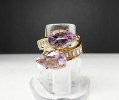 Retro Dinner Ring - Purple Teardrops and Clear Baguettes - ByPass Style Fashion Ring - Signed CI - Goldtone & Amethyst Glass Rhinestones - #Jewelry #Vintage #Fashion #etsyretwt