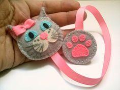 Felt cat bookmark gray cat bookmark white cat by DusiCrafts