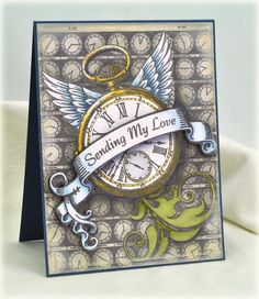 Time Flies Cling Background Stamp
