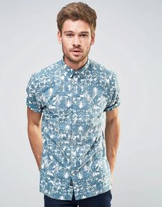 Selected Homme | Selected Homme Short Sleeve Shirt with All Over Reverse Floral Print