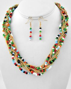 Gold Tone / Multi Color Acrylic Bead / Lead Compliant / Multi Strand / Necklace & Fish Hook Earring Set