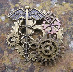 Doctor Power Steampunk Brooch Lapel Pin Handmade Arts and Craft One of a Kind by ArtandThingsUK on Etsy