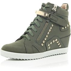 dcdf7bf5ff6e River Island Khaki studded wedge high top sneakers ( 110) found on Polyvore  featuring shoes