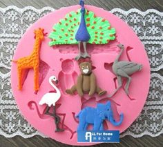 Allforhome 6 Cavity Animal Cake Decoration Moulds Silicone Cake Chocolate Fondant Mold Sugar paste Sugar Craft DIY Moulds, Zoo Party, Elephants, Ostriches, Giraffes, Peacocks, Flamingos, Bears