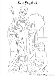 Saint Stanislaus Catholic coloring page for children.  Feast day is April 11th.