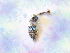 SALE-Belly Ring, Antique Silver Baby Night Owl, Belly Button Ring, With blue Crystal Eyes, Belly Button Jewelry For Women and Teens on Etsy, $5.99