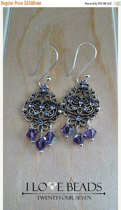 ON SALE Sterling plated Swarovski earrings- purple Swarovski earrings-Swarovski chandelier earrings- chandelier earrings- Purple and silver