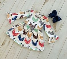 USA Girls Dress Toddler Baby Kids Clothing Bell Sleeve Chicken Dress