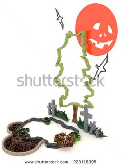 3D Halloween background decoration in haunting graveyard with Jack-o-lanterm moon