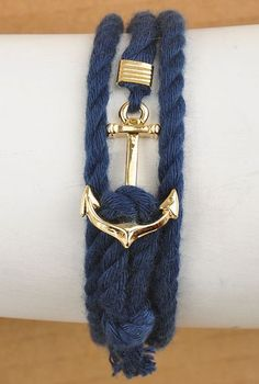 Nautical Mile Anchor Rope Knot Bracelet in Navy Blue