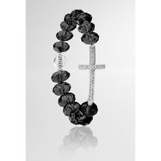 Avenue Stone Cross Stretch Bracelet ($14) ❤ liked on Polyvore featuring jewelry, bracelets, black, plus size, cross bangle, charm bangle, black stone jewelry, black bangles and beading jewelry