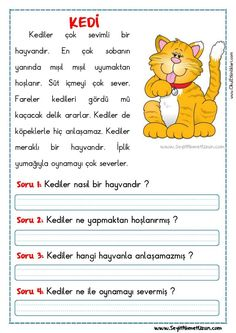 If you are like me, I LOVE buying educational materials for your class. Reading Comprehension Worksheets, Reading Passages, Writing Activities, Activities For Kids, Turkish Lessons, Learn Turkish Language, Classroom Rules, Primary School, Special Education