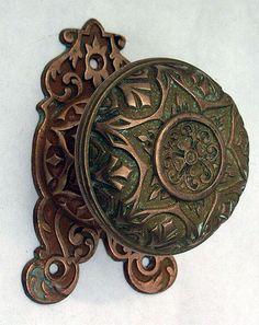 cast bronze gothic door knob with plate tim burton inspertaion