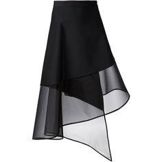 DAVID KOMA - Wrapped Sheer-Hem Skirt - DK30S JL BLACK - H. Lorenzo (€1.000) ❤ liked on Polyvore featuring skirts, bottoms, black, saias, wrap skirt, black wrap skirt, david koma and black skirt