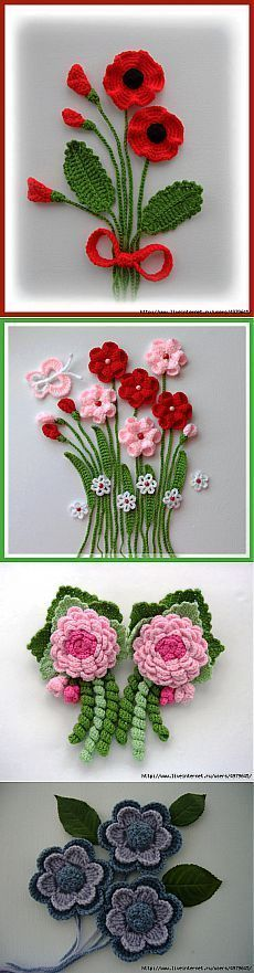 Hand Crochet Appliques Poppy flowers and leaves crocheted using Acrylic yarn. Large flowers measures approx: 7 - 7,5 cm in diameter  Leaves appro