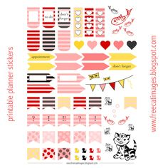Free Cat Images: Free printable planner stickers - cats and fishes - freebie