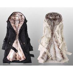 Zima 2013: Ocieplana bawełniana kurtka damska w stylu koreańskim z wełnianą podpinką/podszewką śr. długości