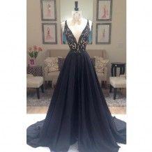 Elegant Spaghetti Straps A-line Beading Long Black Prom Dress Evening Gown