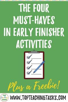 "Early Finishers Activities are a must in your classroom. We have all heard the dreaded, ""I'm Done, Now What? Physics Classroom, Primary Classroom, School Classroom, Classroom Hacks, Classroom Displays, Middle School Activities, Middle School Ela, School Resources, Teacher Resources"