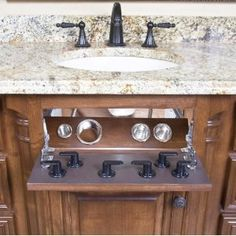 Under-sink Curling Iron, flat iron, hair dryer holder. And they each have a place to cool down. No more irritating and wasted fake drawer :) Bathroom Vanity Organization, Bathroom Storage, Bathroom Ideas, Bath Ideas, Bathroom Drawers, Sink Organizer, Home Salon, Under Sink, Kitchen And Bath