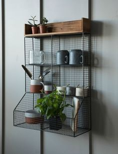 Wood and Wire Kitchen Storage Rack at Rose & Grey