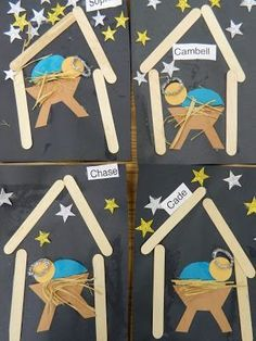Popsicle Stick jesus in a Manger craft for kids
