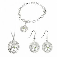 Silver Celtic Tree of Life Earrings, Necklace and Bracelet Gift Set