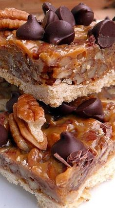 Chocolate Caramel Pecan Bars ~ Deliciousness!